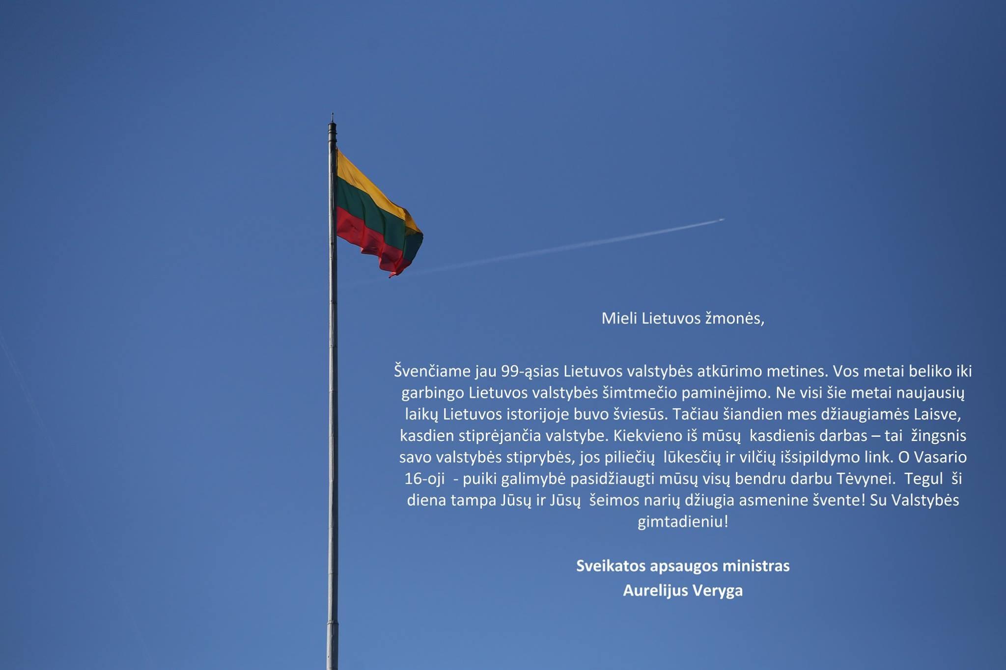 Su Lietuvos valstybės atkūrimo metinėmis!